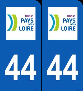 Paire Sticker immatriculation 44 Loire Atlantique