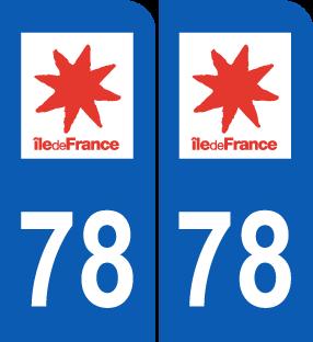 stickers 78 yvelines pour plaque d 39 immatriculation autocollant 78 yvelines region ile de france. Black Bedroom Furniture Sets. Home Design Ideas
