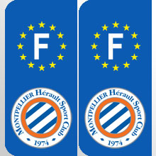 Stickers plaque france logo equipe foot football france ligue 1 france adhesif pour plaque france - Logo montpellier foot ...