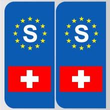 stickers plaque suisse logo marque automobile autocollant suisse adhesif pour plaque suisse. Black Bedroom Furniture Sets. Home Design Ideas
